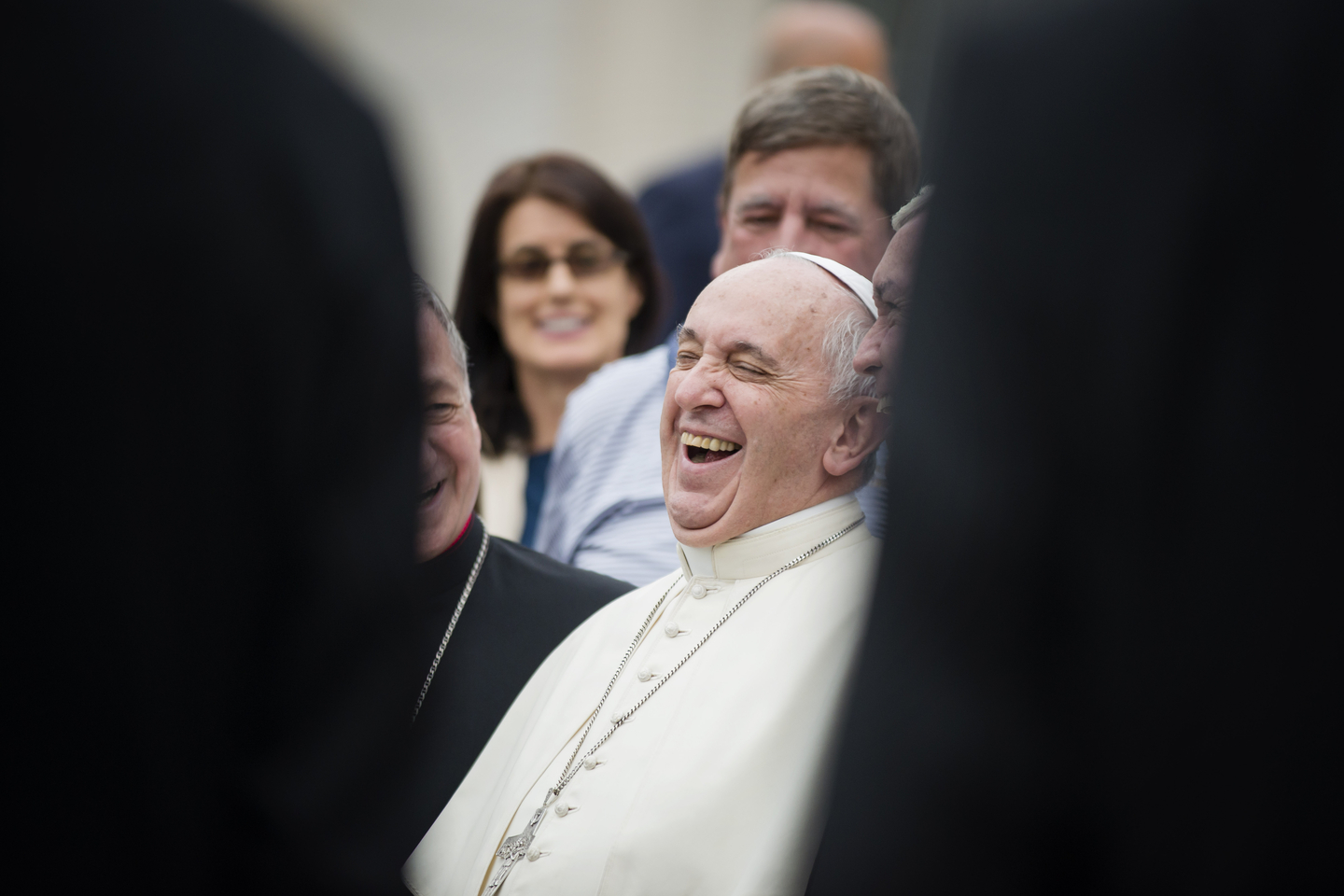Pope Francis laughs