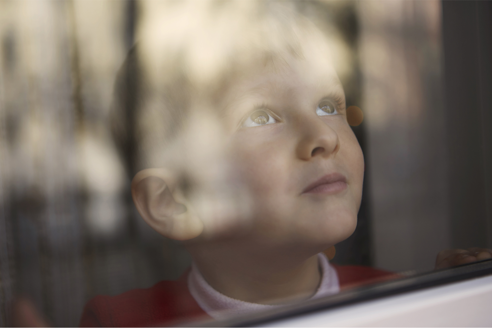 young boy looking outside