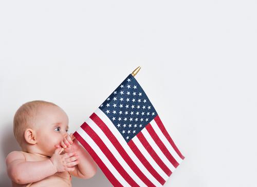 CHILD, AMERICAN, FLAG