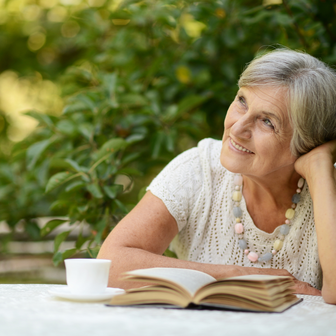OLD, WOMAN, READING
